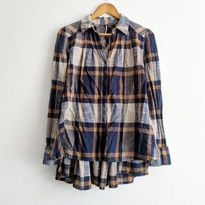 Free People Ruffle Peplum Flannel Top Size S